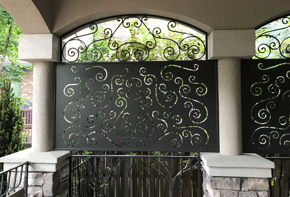 balcony privacy screens with scrollwork