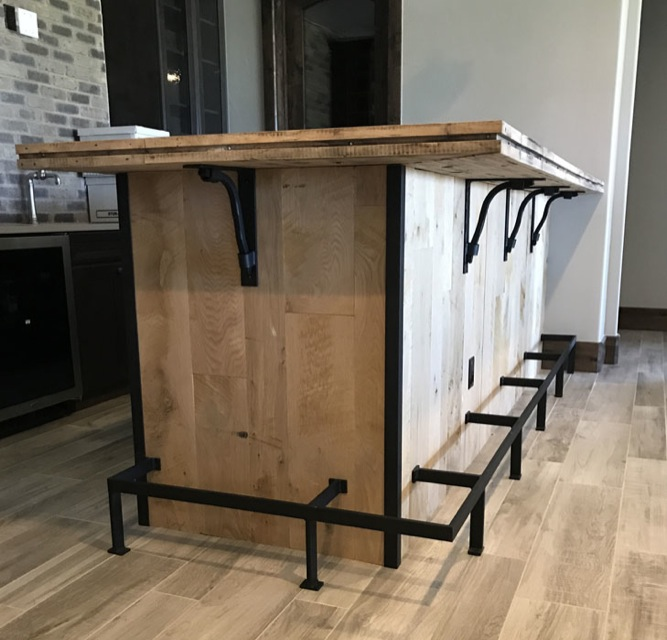 hardware bar top supports, foot rails